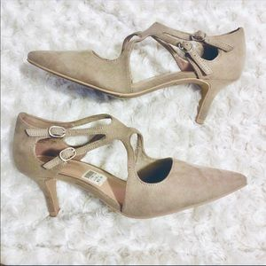 Fioni pointed buckle taupe suede heels